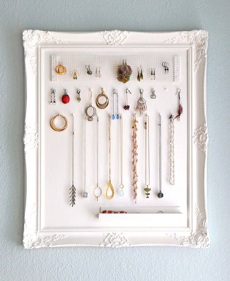 Repurposed Frame for holding jewelry