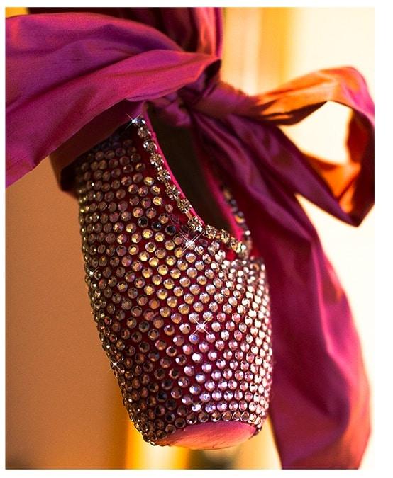 Rhinestoned pointe shoe
