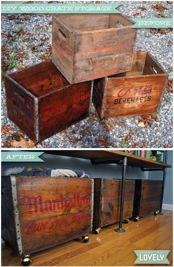 Rolling storage from vintage wooden crates