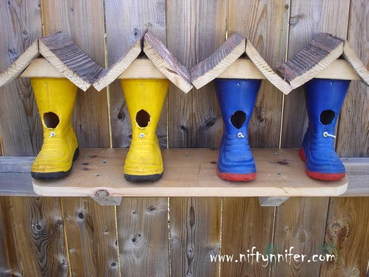 Rubber boot birdhouses