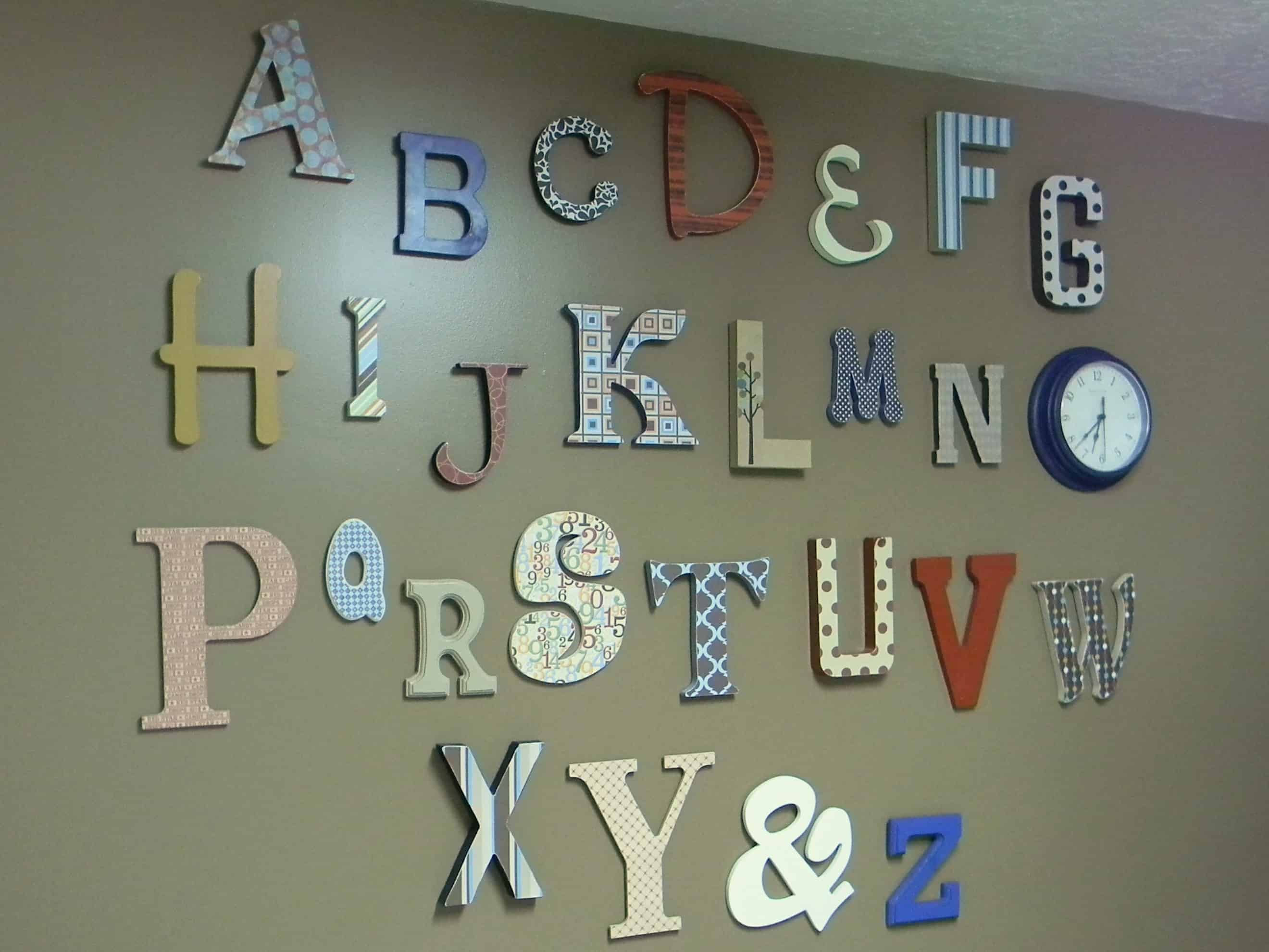 Scrap booking paper wall letters
