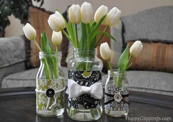 Scrapbooking paper mason jar vases