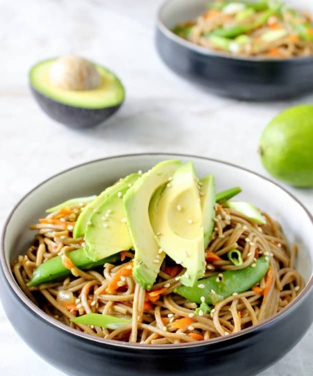 Sesame-peanut soba noodle salad with avocado