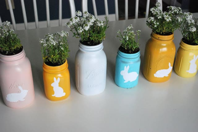 Spray painted mason jar planters