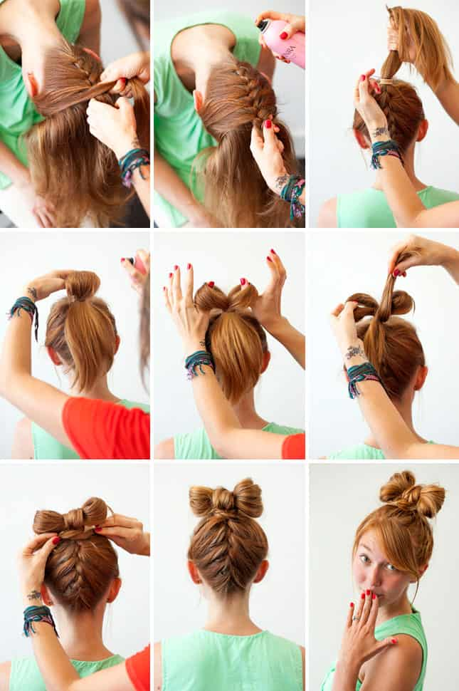Upward French braid hair bow