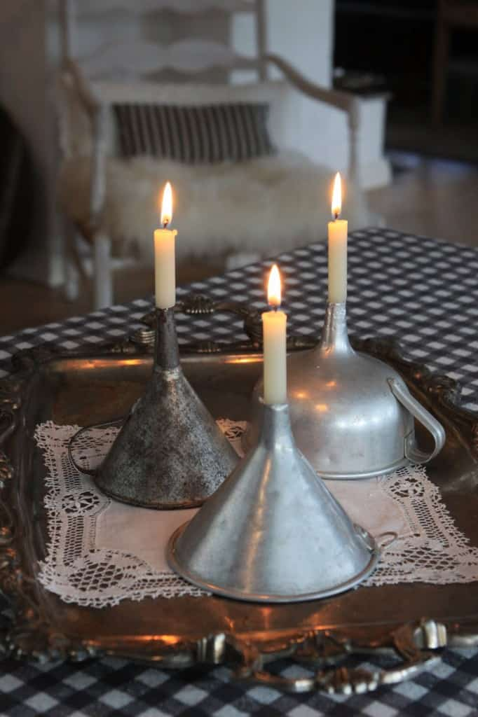 Vintage funnel candle holders