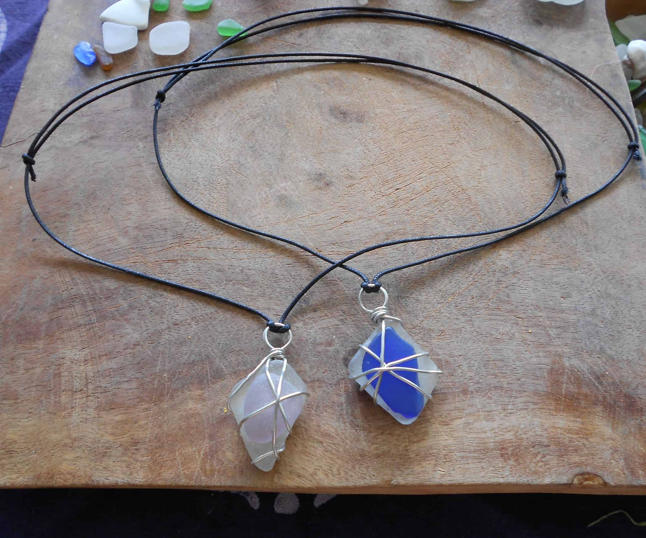 Wire wrapped buffed stone pendants