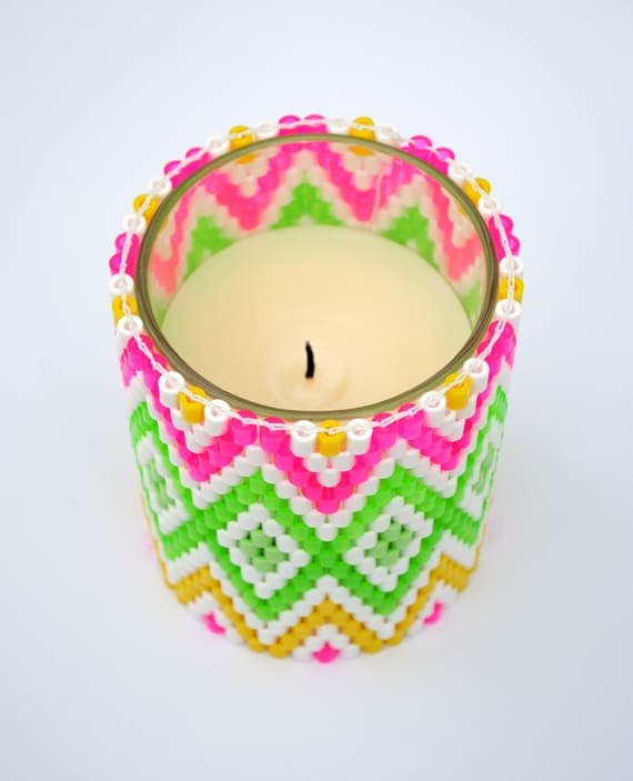 Candle holder with hama beads