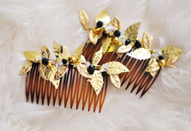 Gold leaf hair combs