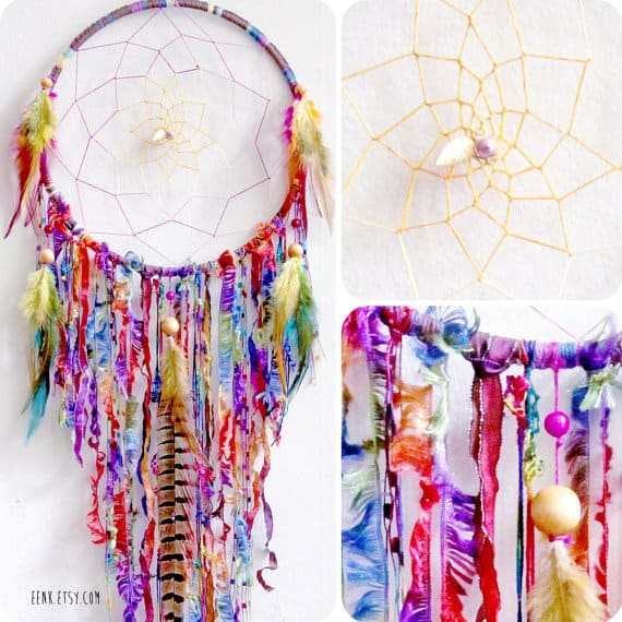Boho feathered yarn dream catcher