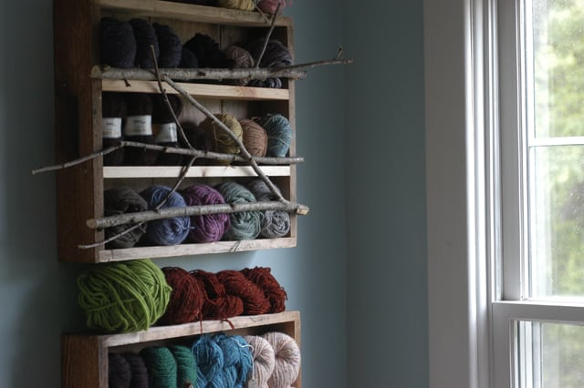 Branches yarn shelf from old drawers