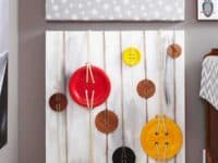 Buttons and twine on canvas 200x150 A Display that Dazzles: Extra Unique DIY Wall Art Ideas