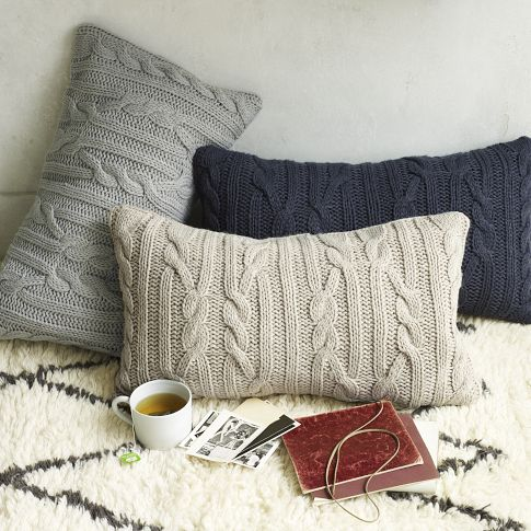 Cable knit sweater pillows