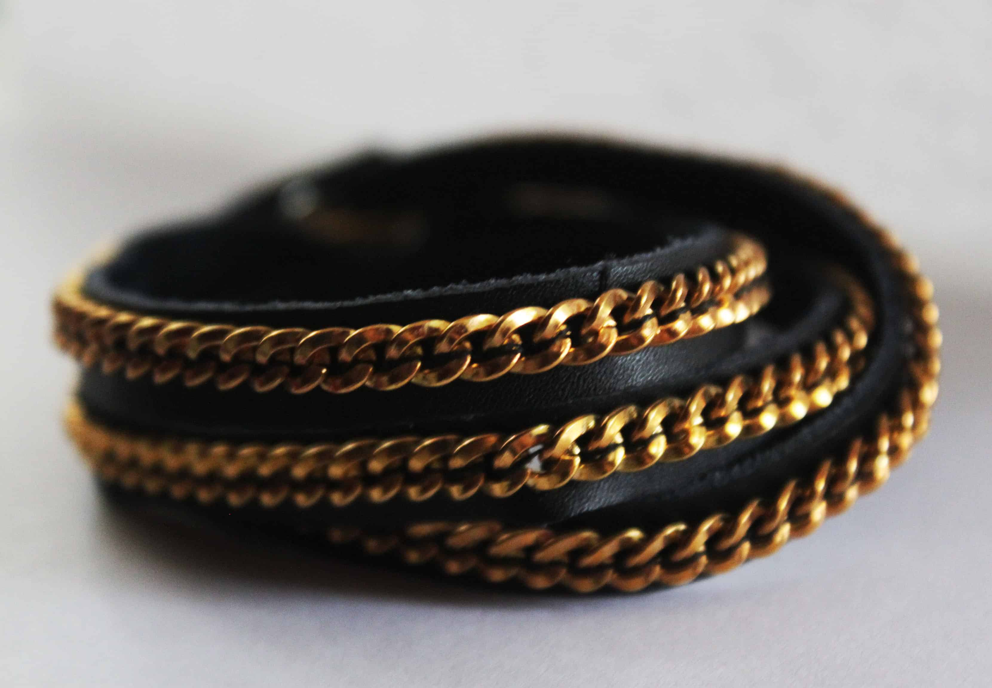 Chain on leather bracelet