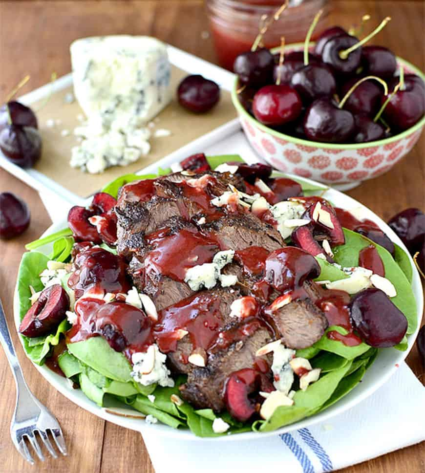 Cherry almond blue steak salad
