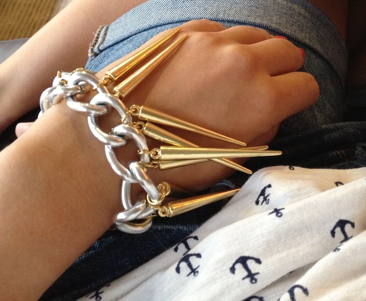 Chunky chain and spike bracelet