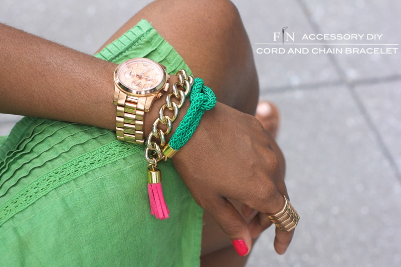 Chunky chain and tassle bracelet