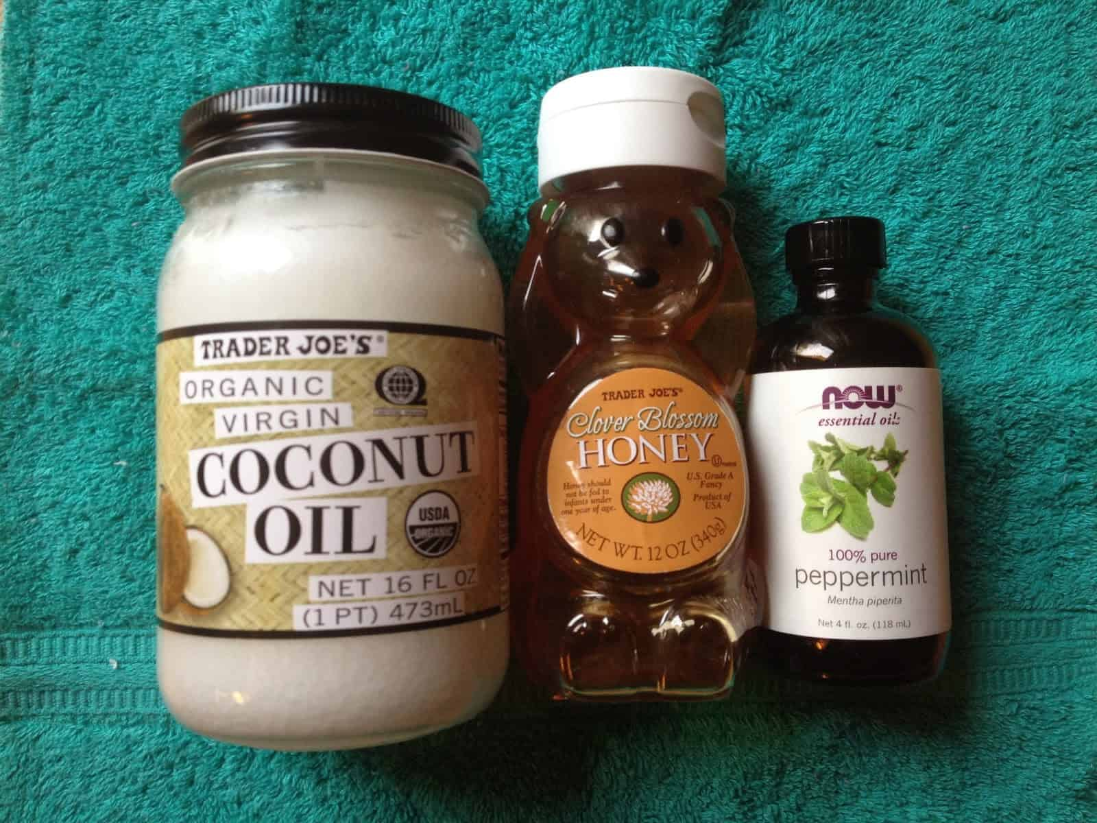 Coconut oil, honey, and peppermint hair mask