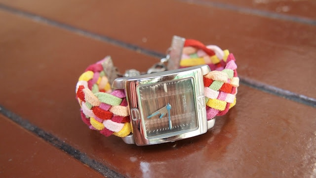 Colourful braided leather strap