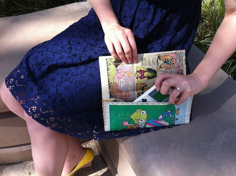 Comic book page clutch purse