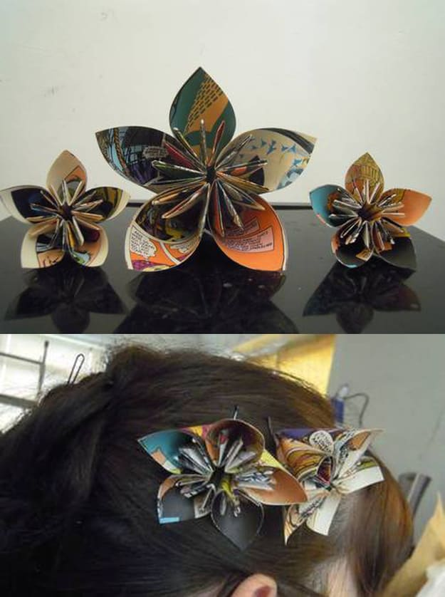 Comic book page origami hair flower