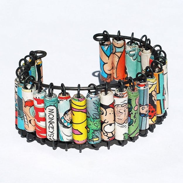 Comic book paper beads on a bangle