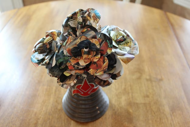 Comic book paper origami flower bouquet