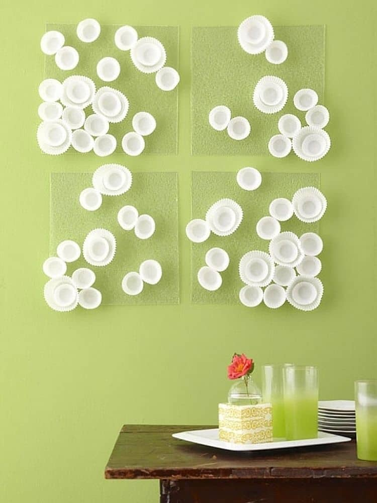 Cupcake wrapper wall art