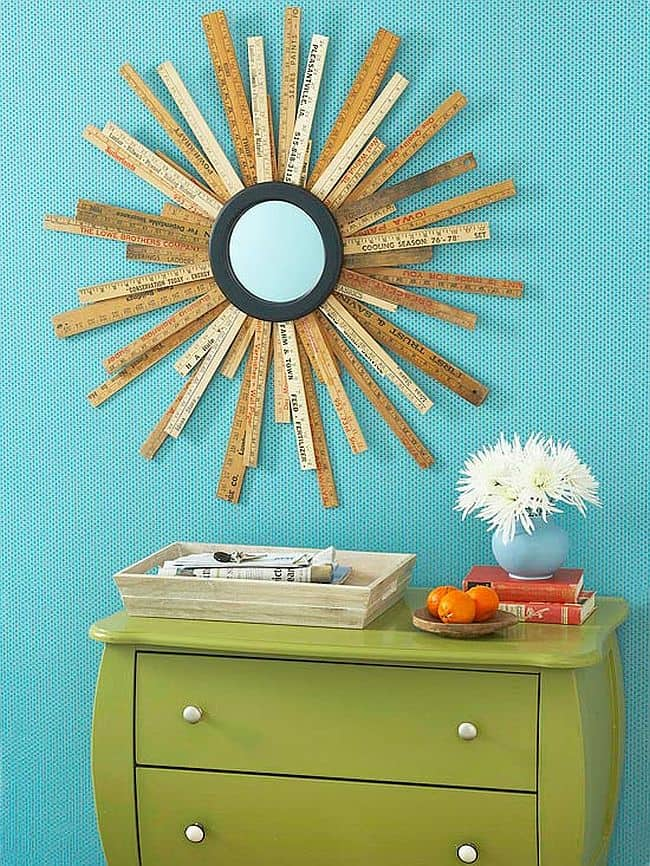 Custom yard stick sunburst mirror