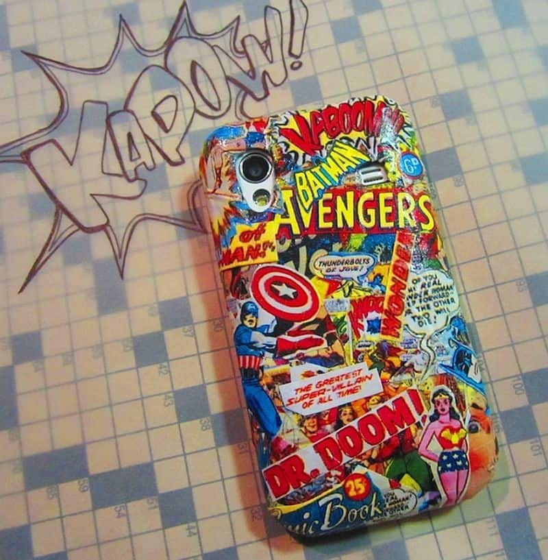 DIY Decoupaged comic book cell phone case
