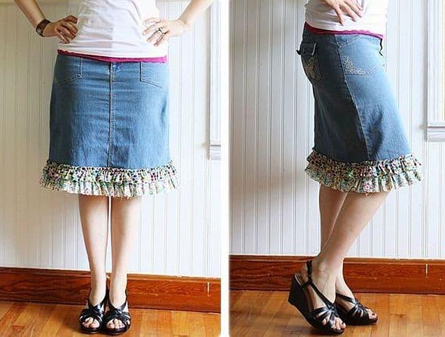 DIY Ruffle hemmed denim skirt