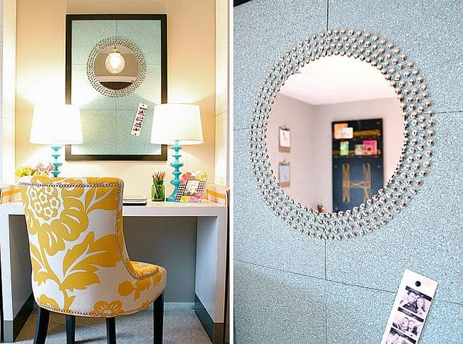 DIY Thumbtack sunburst mirror