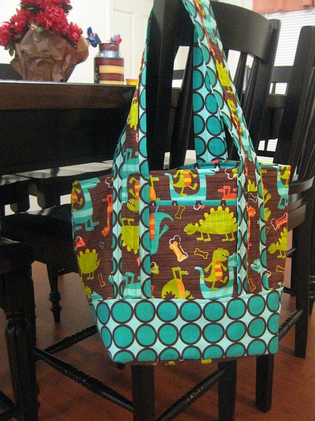 DIY double patterned fabric diaper bag