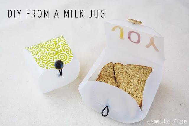 DIY sandwich box from a milk jug