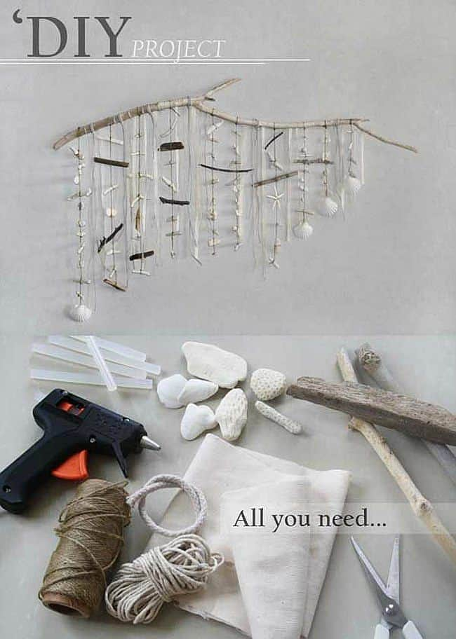 DIY seashell and beach twig hanging mobile