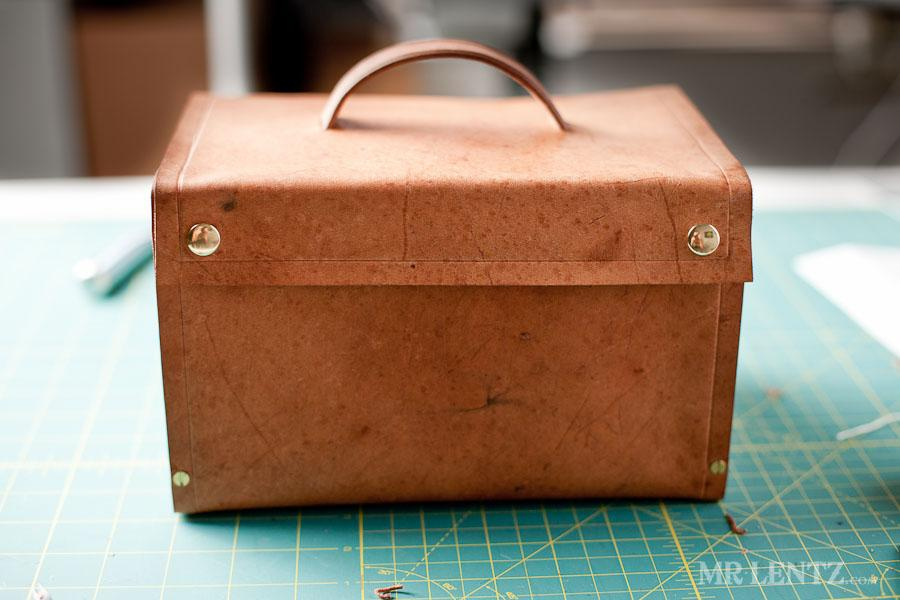 DIY wood and leather lunch box