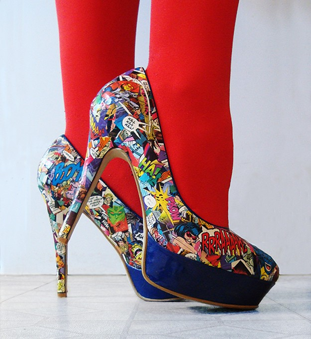 Decopuaged comic book pumps