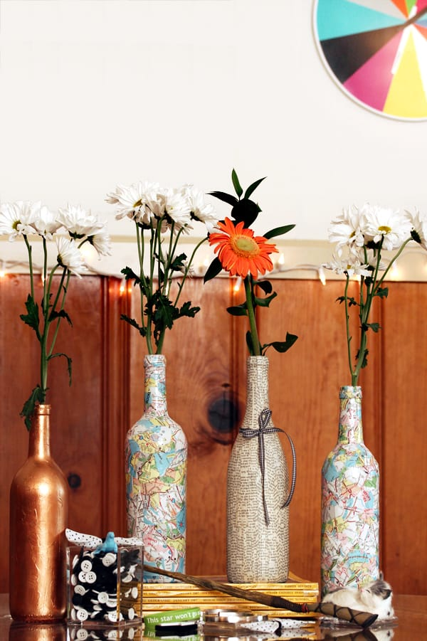 Decoupage wine bottle decor