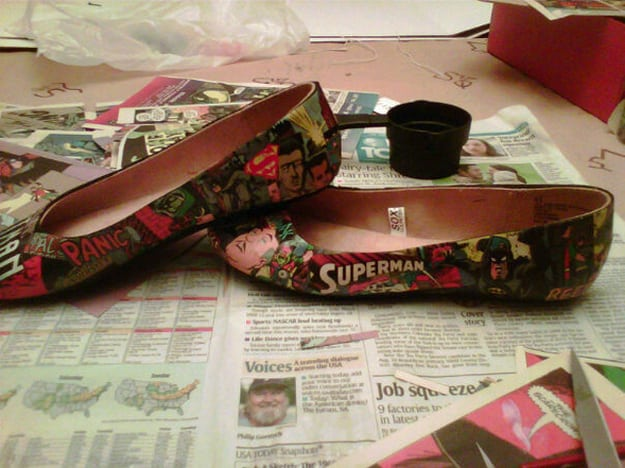 Decoupaged comic book flats