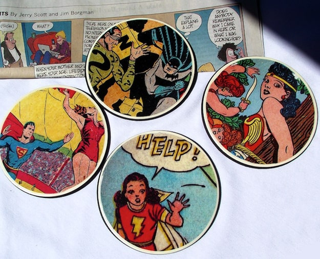 Decoupaged comic book page drink coasters
