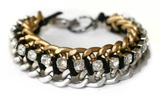 Double chain and rhinestone bracelet