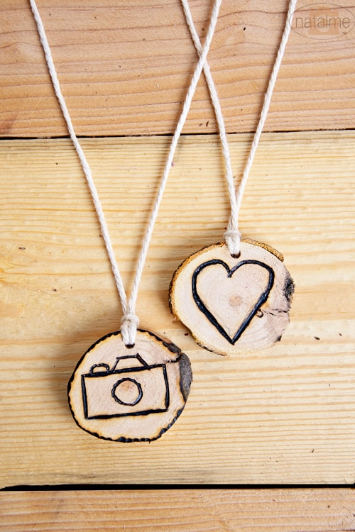 Etched necklace charms