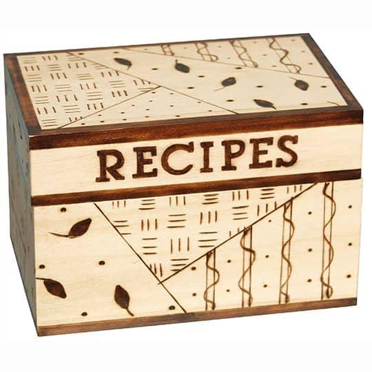 Etched recipe box
