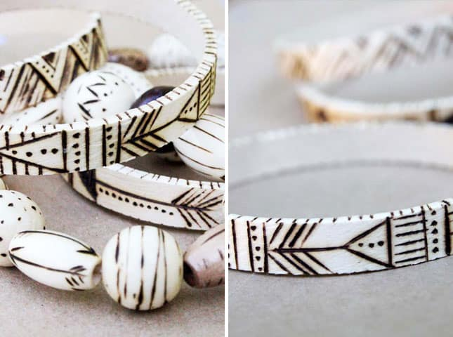 Etched wooden bangles