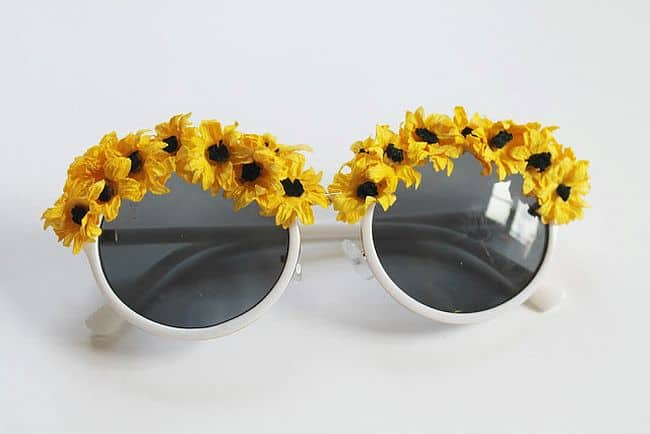 Fake Flowered Sunglasses
