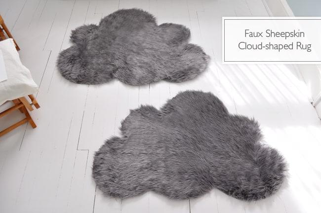 Faux sheepskin cloud rug
