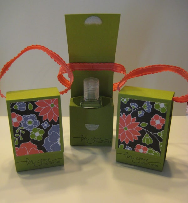 Floral sanitizer box with ribbon handle