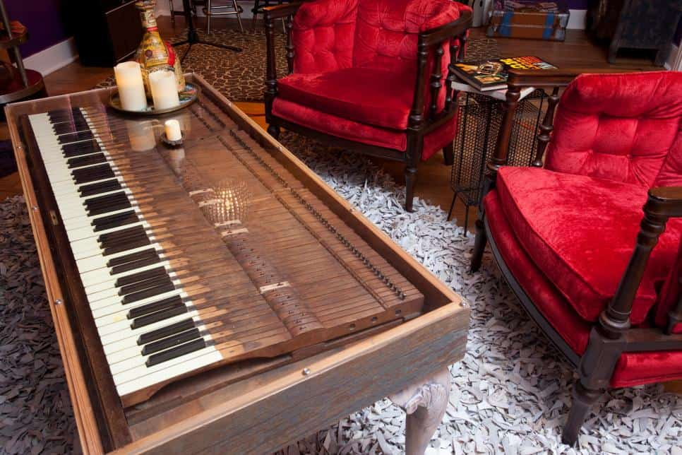 Glass covered piano key coffee table