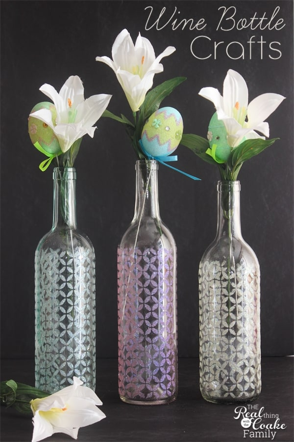 Glitter stenciled wine bottle vases