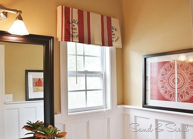 Gorgeous repurposed dishtowel window valances